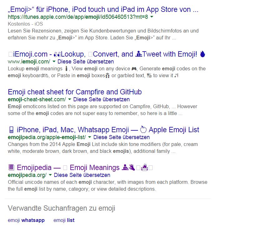 Emojis in den deutschen Suchergebnissen bei Google