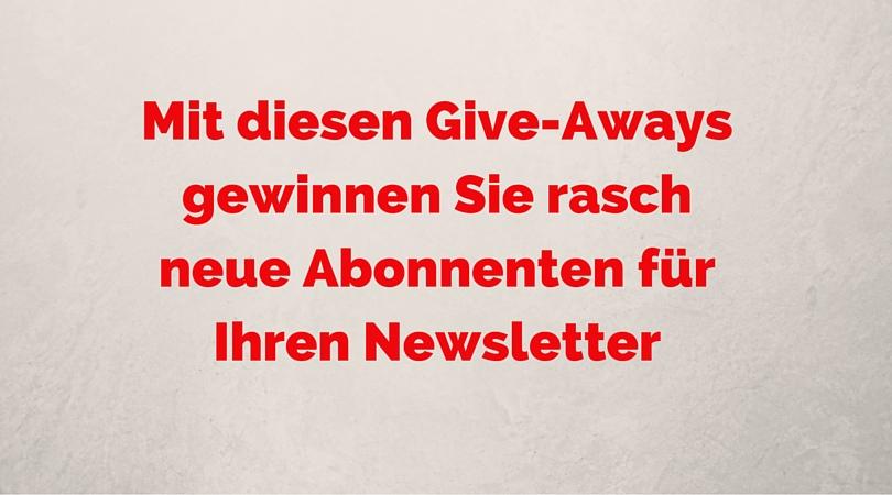 neue give aways
