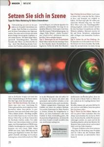 Artikel über Video-Marketing im IHK-Magzin Wirtschaft Januarausgabe 2016: Setzen Sie sich in Szene - Tipps für Video-Marketing für kleine Unternehmen