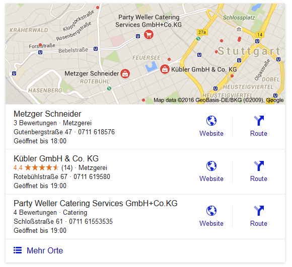 Screenshot des Ergebnisses einer Local Search mit dem Keyword Metzgerei