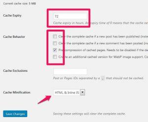 Einstellungen im Cache-Enabler Plugin für WordPress