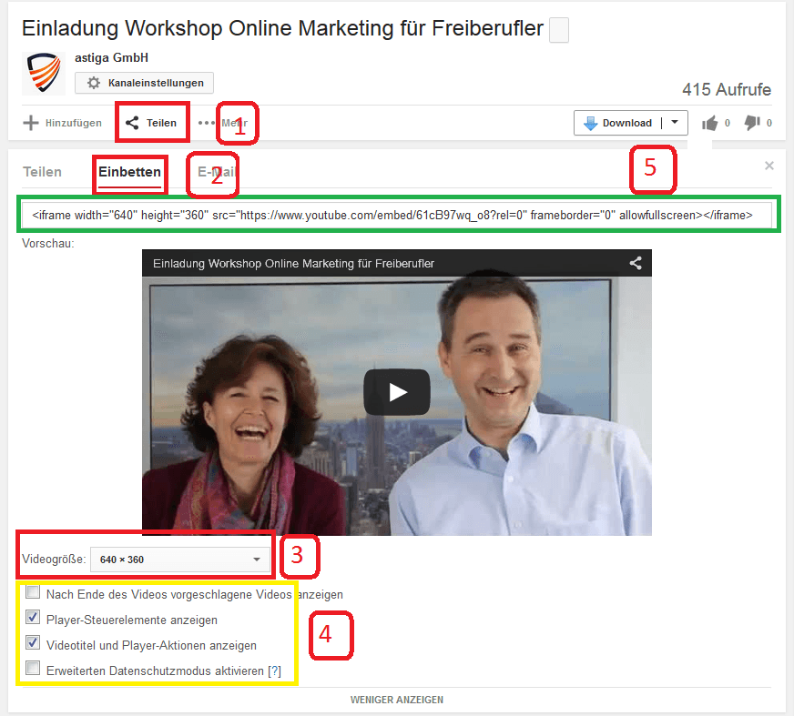Youtube Video einbetten- Erweiterte Einstellungen
