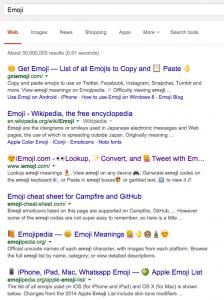 Emojis in der englischen Suche auf dem Desktop