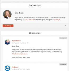 Beispiel für User generated Content: Kommentare im Blog