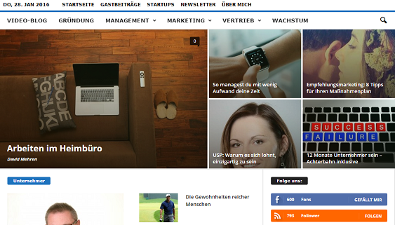 Unternehmer-Portal Startseite