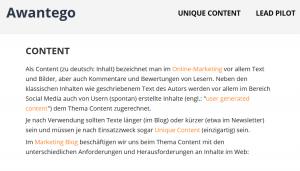 Ein einleitender Text einer Kategorie-Seite mit interner Verlinung