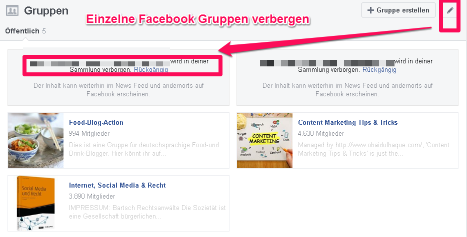 Facebook Gruppen verbergen_einzeln