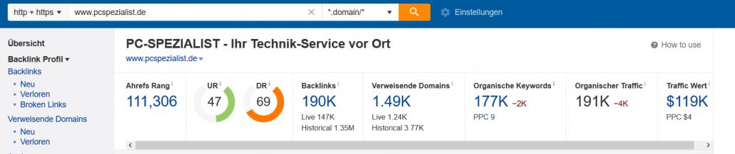 Übersicht der Domain pcspezialist.de in Ahrefs