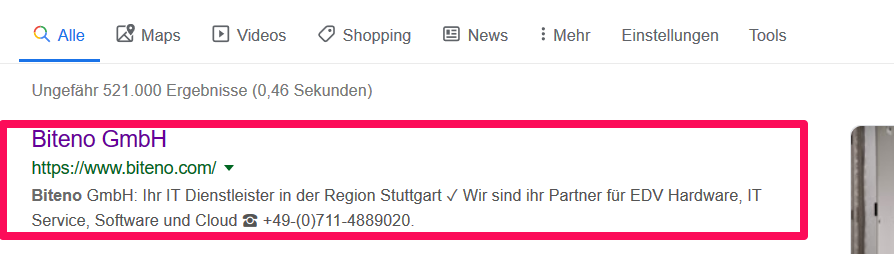Anzeige der Meta-Beschreibung auf Google.de