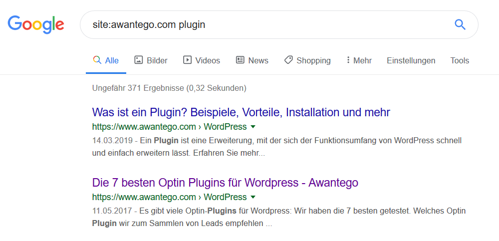 """Google.de Suche mit """"site:"""""""